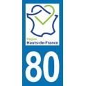 Autocollant Moto Département 80 de la Somme nouvelle région Les Hauts de France