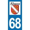 Autocollant Moto Immatriculation 68 - Haut-Rhin