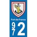 Autocollant Moto Fort-de-France immatriculation 972