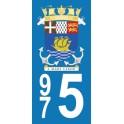 Autocollant Moto Saint-Pierre-et-Miquelon immatriculation 975