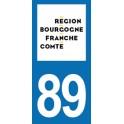 Autocollant Moto Immatriculation 89 - l'Yonne - Nouvelle région Bourgogne-Franche-Comté