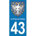 Autocollant Moto Le Puy en Velay Immatriculation 43