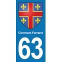 Autocollant Moto Clermont-Ferrand Immatriculation 63
