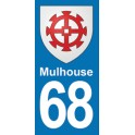 Autocollant Moto Mulhouse Immatriculation 68